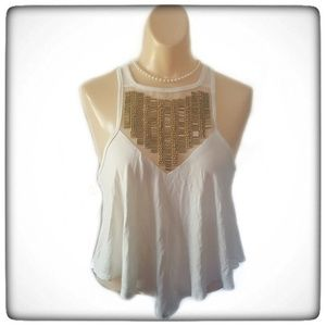 Charlotte Russe Cream Crop Top With Gold Beads -M
